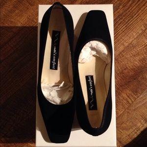 Shoes - 🍒NINA Comfort Black Fabric & Leather Dressy Pumps